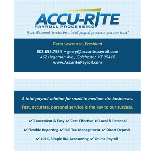Accurite Payroll Business Card Design