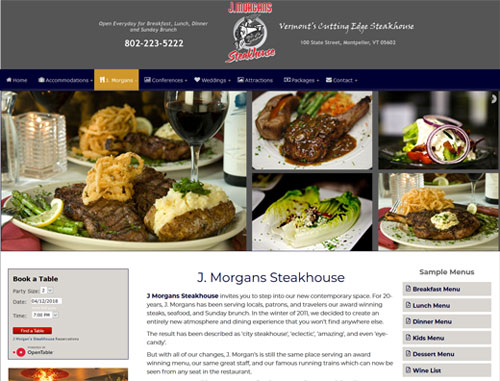 J Morgans Restaurant Website