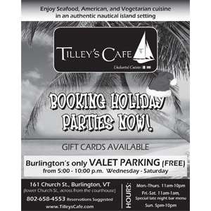 Tilley's Cafe Book Your Holiday Party Ad Design