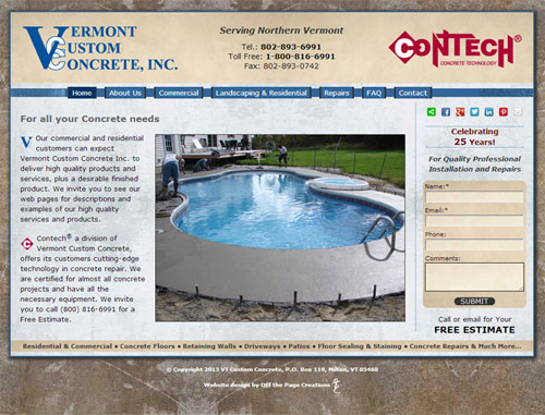 VT Custom Concrete Website