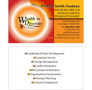 Wealth in Diversity Custom Business Card Design