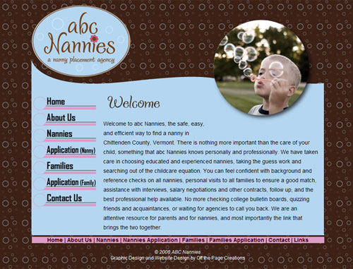 ABC Nannies Website