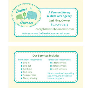Babies to Boomers Custom Business Card Design