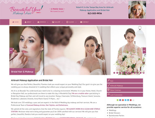 Beautiful You Makeup & Hair Website