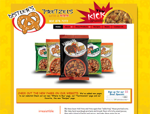Distlers Pretzels Website