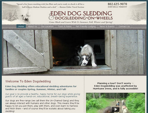 Eden Mt. Dogsledding Website
