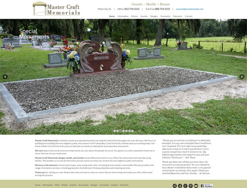 Mastercraft Memorials Website