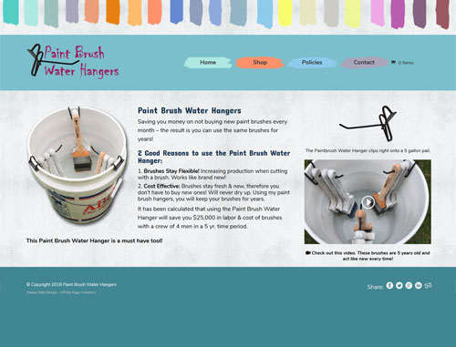 paintbrush Water Hangers Ecommerce Website