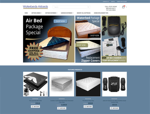 Waterbeds-Airbeds Ecommerce Website