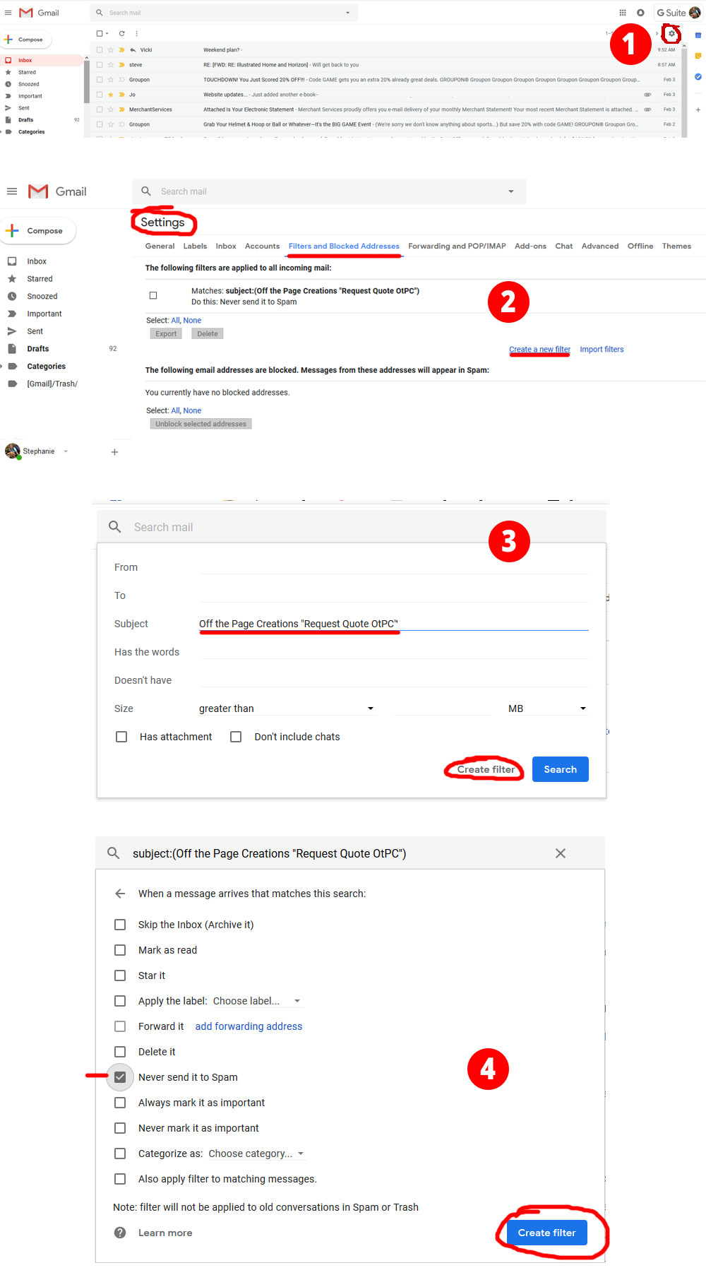 gmail add filter instructions