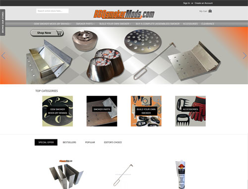 BBQ Smoker Mods Magento Ecommerce Website