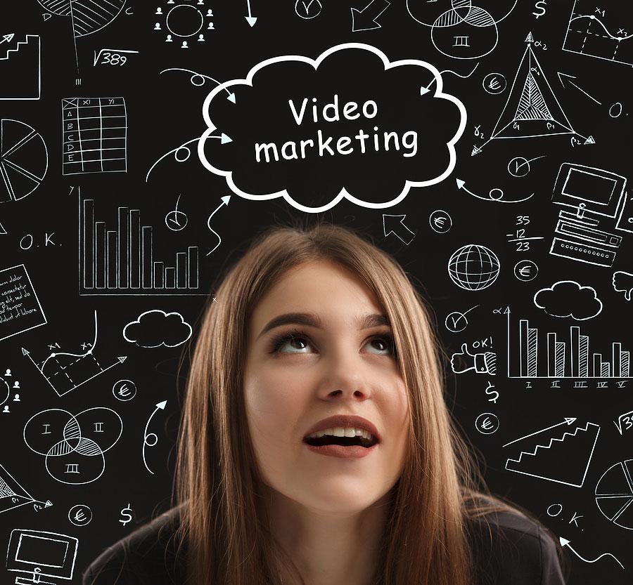 video marketing girl by chalkboard