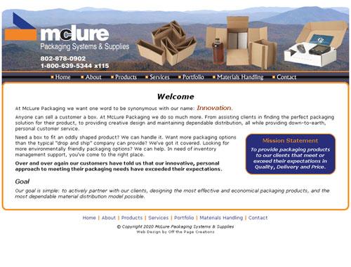 Mclure Packaging Website